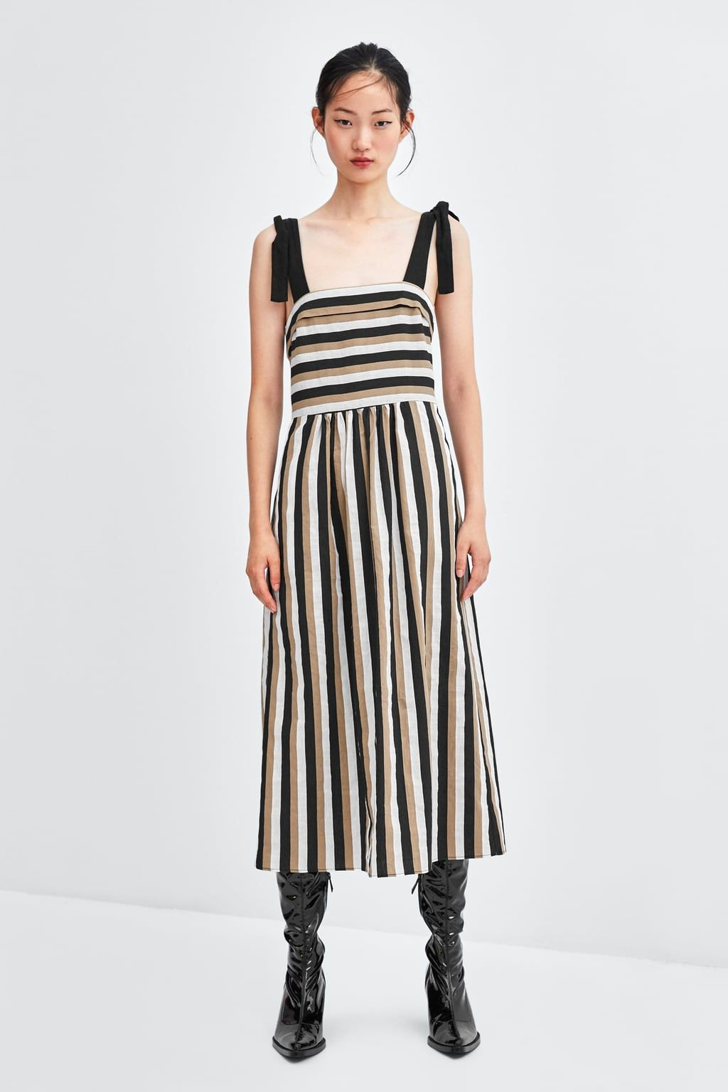 Image 1 Of Striped Midi Dress From Zara Avec Images