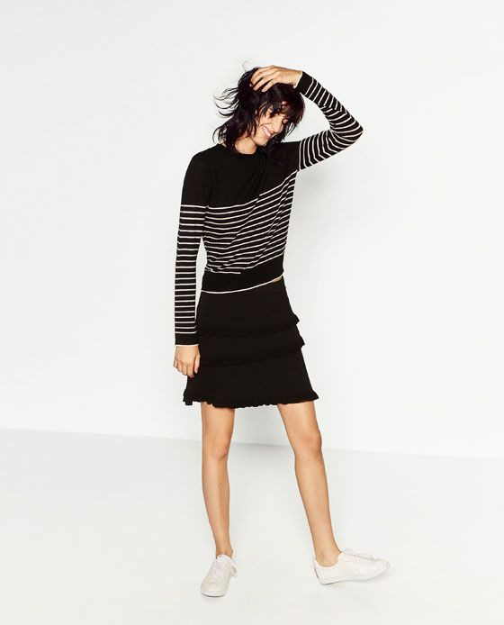 Image 1 Of Striped Sweater With Gold Buttons From Zara