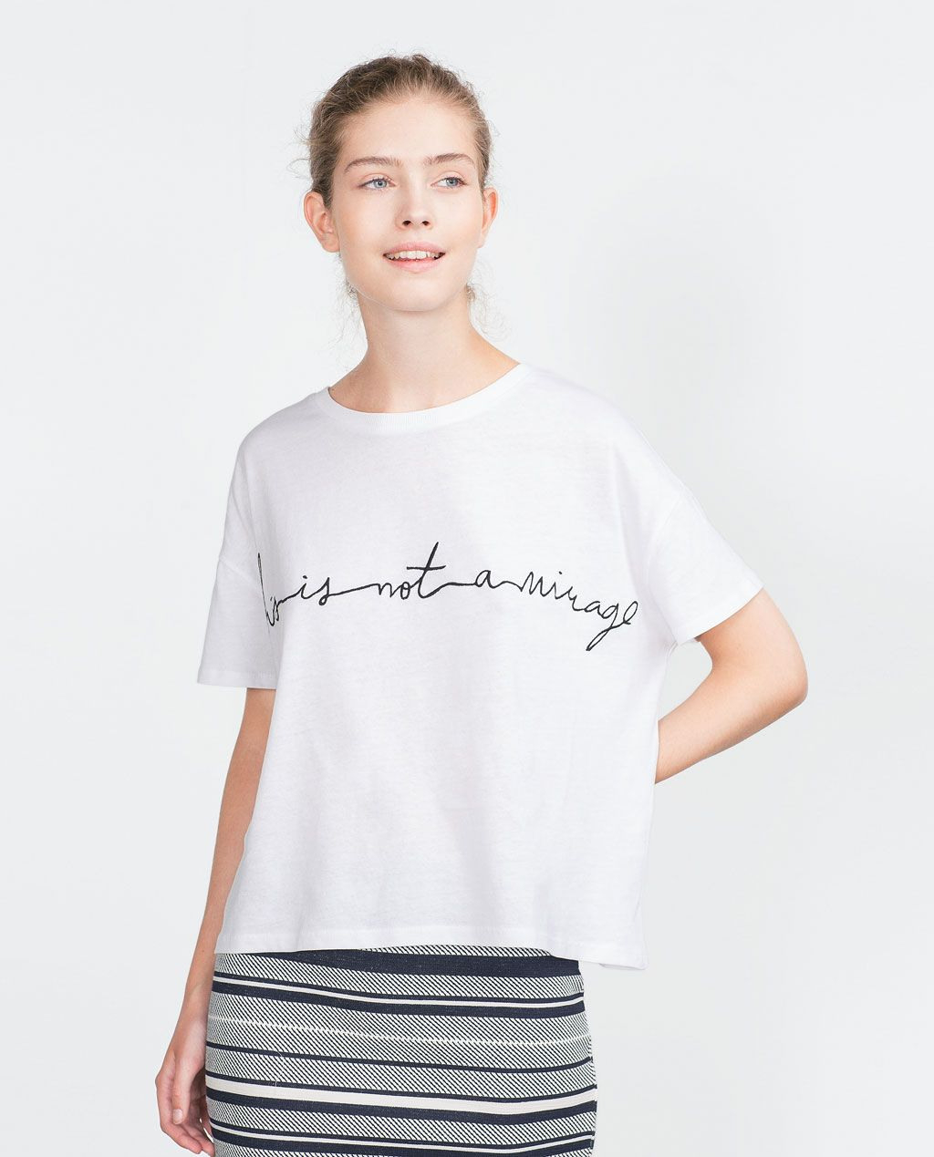 Image 1 Of Tshirt With Embroidered Text From Zara  Brand