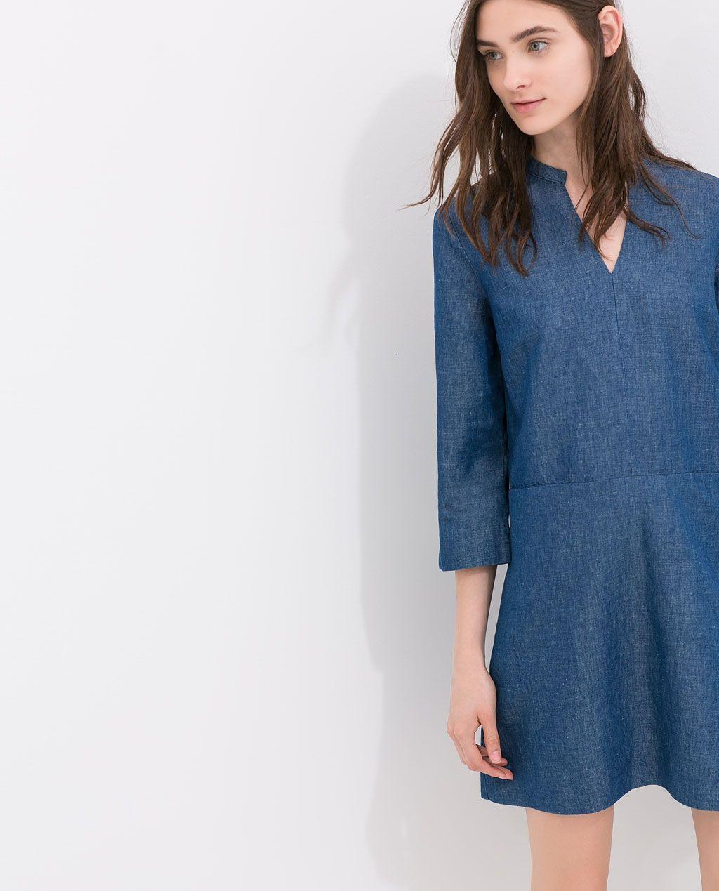 Image 3 Of Denim Shirt Dress From Zara Met Afbeeldingen