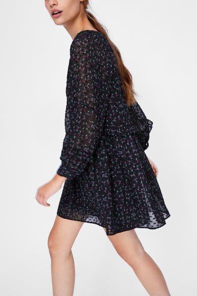 Imagem 6 De Vestido Com Estampado Floral E Plumeti Da Zara