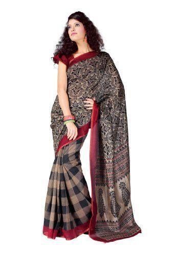 Indian Designer Wear Bhagalpuri Cotton Grey Printed Saree