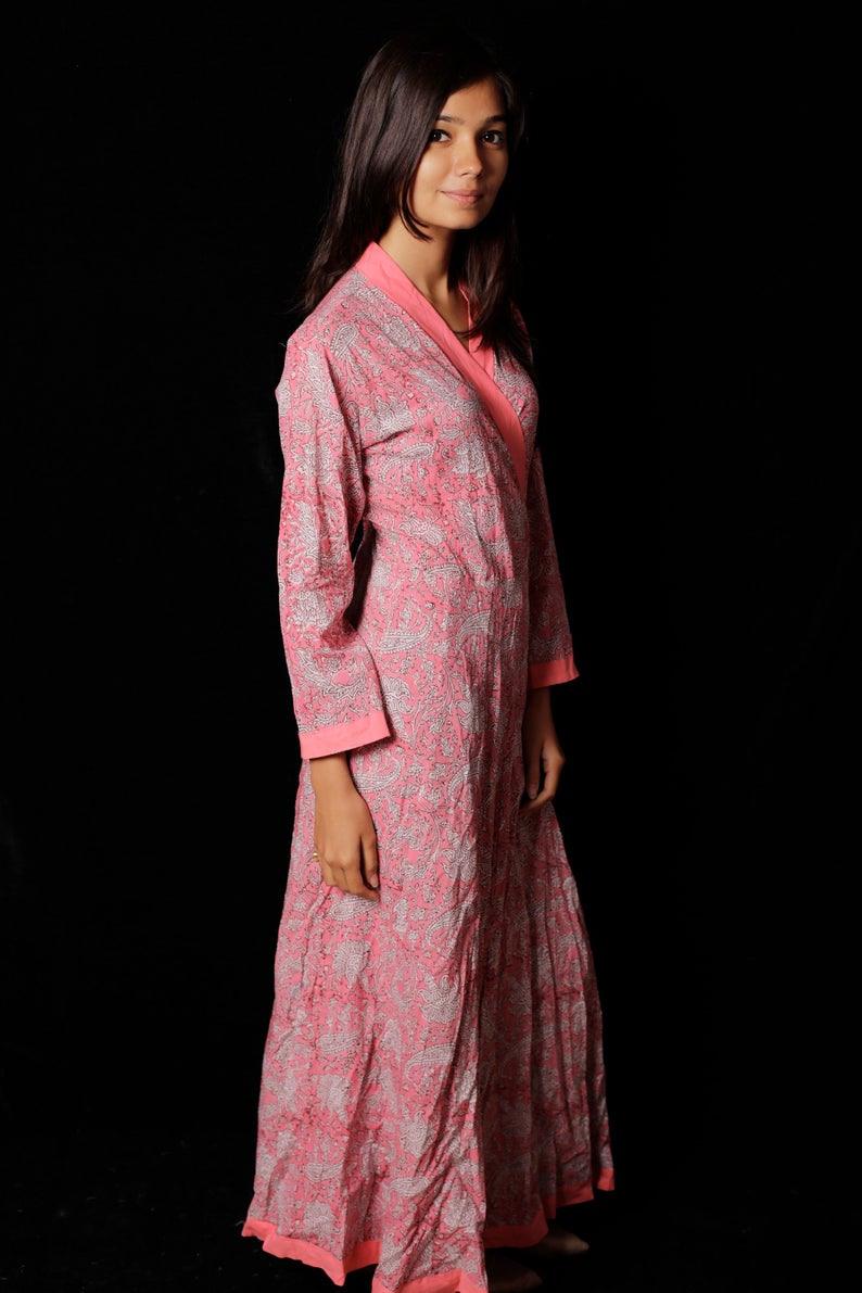 Indische Hand Block Gedruckt Lange Kimono Kleid Kleid Für