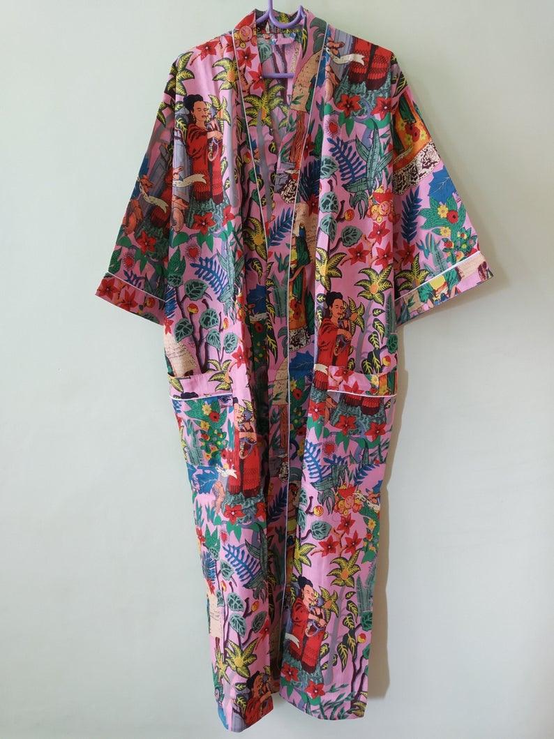 Indische Handgemachte Frida Kahlo Kimono Kleid Reine