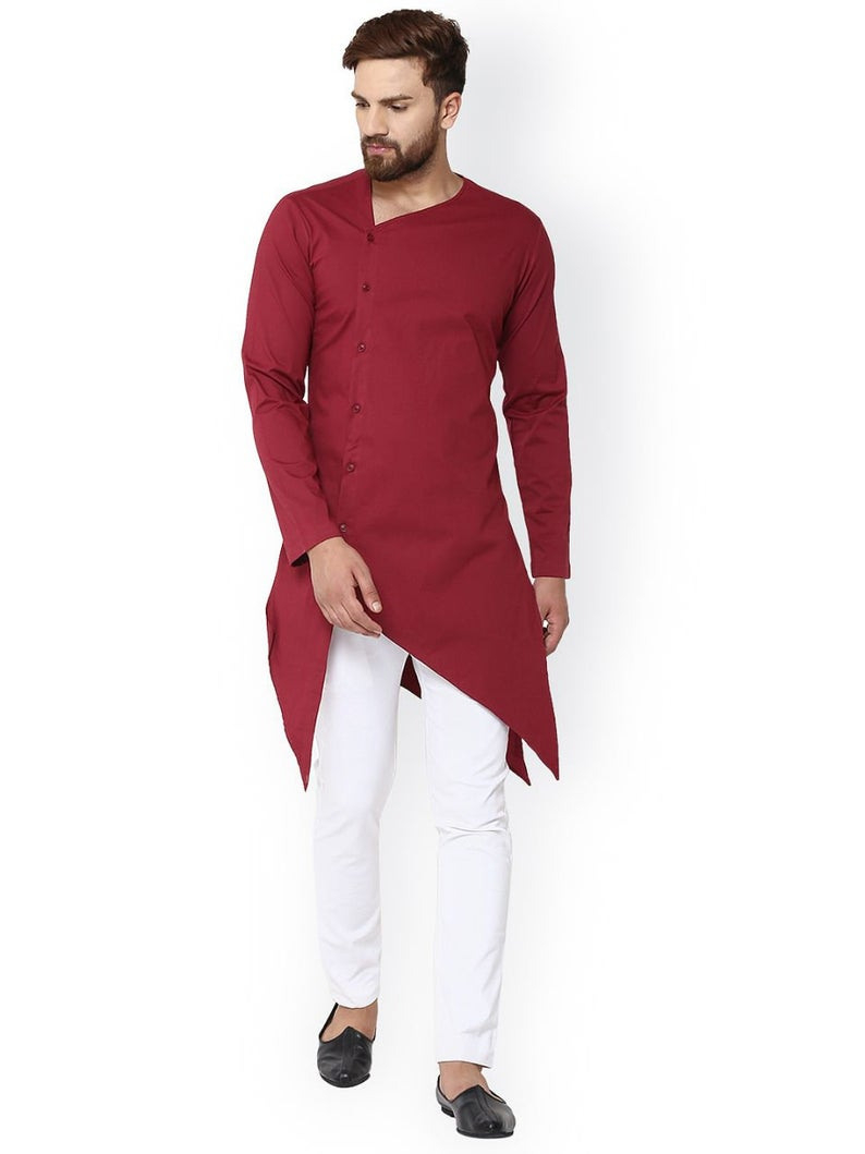 Indische Shirt Rote Baumwolle Kurta Herren Tunika Solide