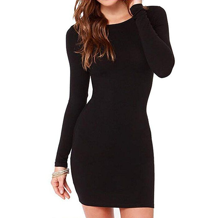 Ishine Bodycon Kleid Damen Langarmshirt Basic Kleid