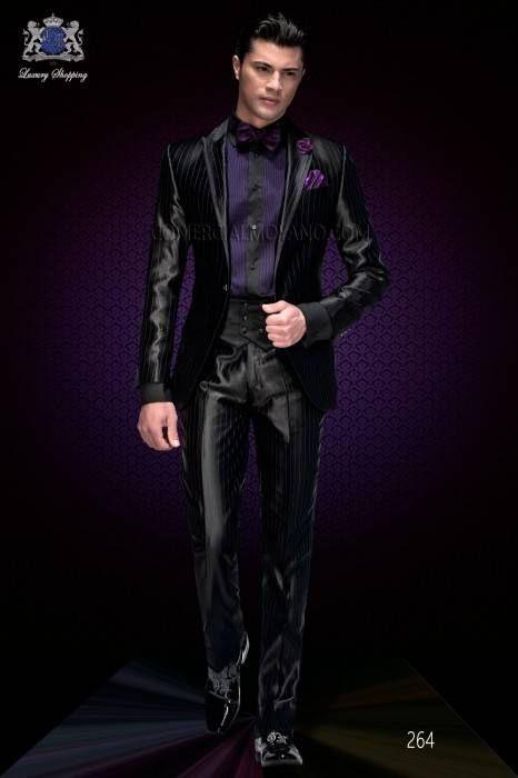 Italienische Schwarz Mit Purpur Pinstripes Bräutigam Anzug