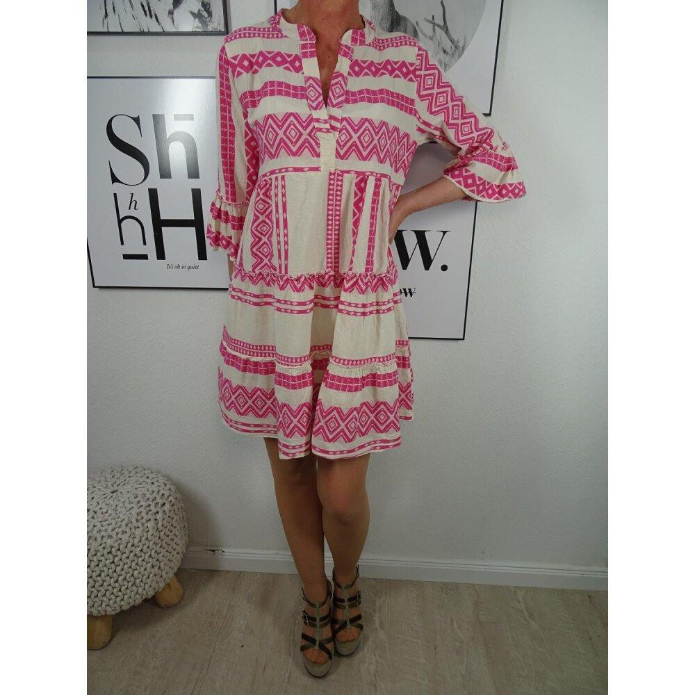 Italy Fashion Tunika Kleid Ibiza Boho Hippie Look Mit