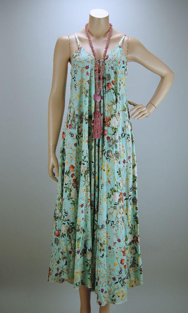 Italy Sommer Kleid Lang Hängerchen Viskose Mint Mit Blumen