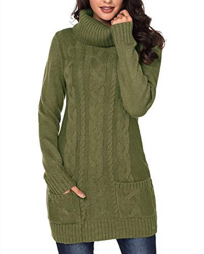 Itsmode Damen Pullover Kleid Lang Strickpullover Warm