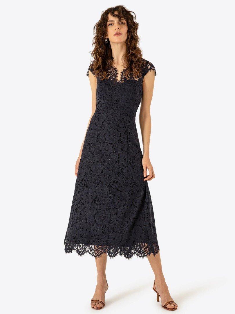 Ivy  Oak Damen Kleid Mit Spitze Navy Blau Gr32