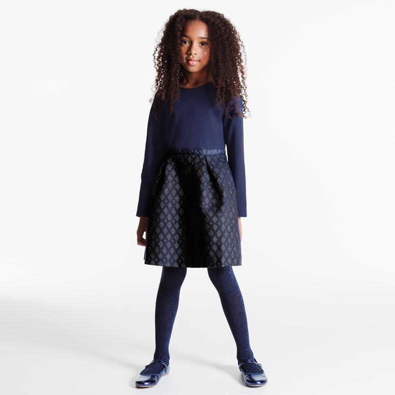 Jacquardkleid Blau Mädchen Okaïdi  Obaïbi