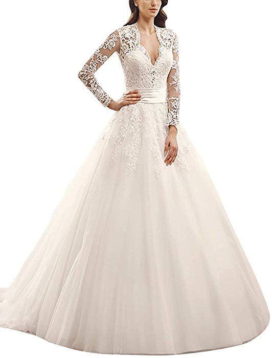 Jaeden Damen Brautkleid Langarm Hochzeitskleider Vintage