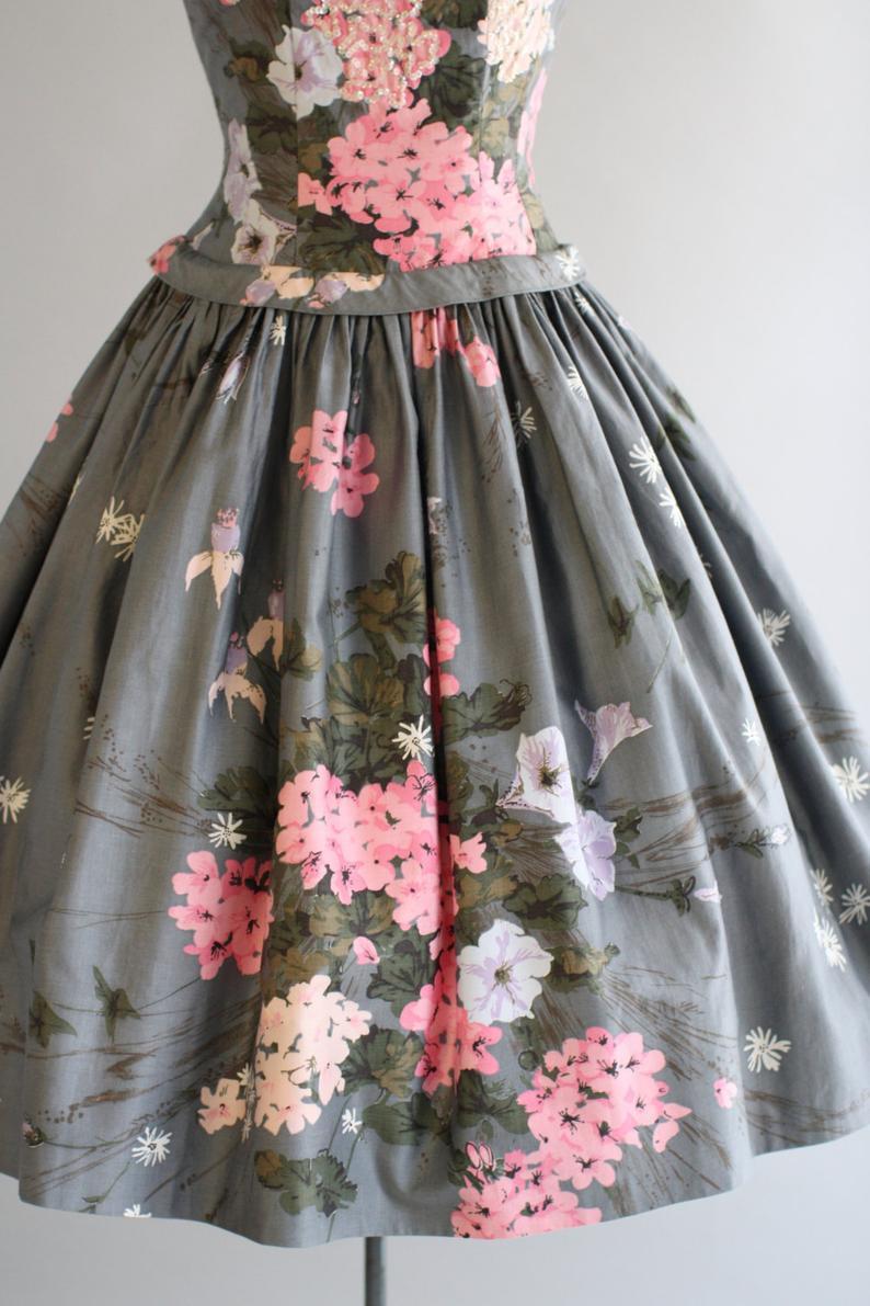 Jahrgang 1950 S Kleid / 50Er Jahre Baumwolle Kleid / Grau