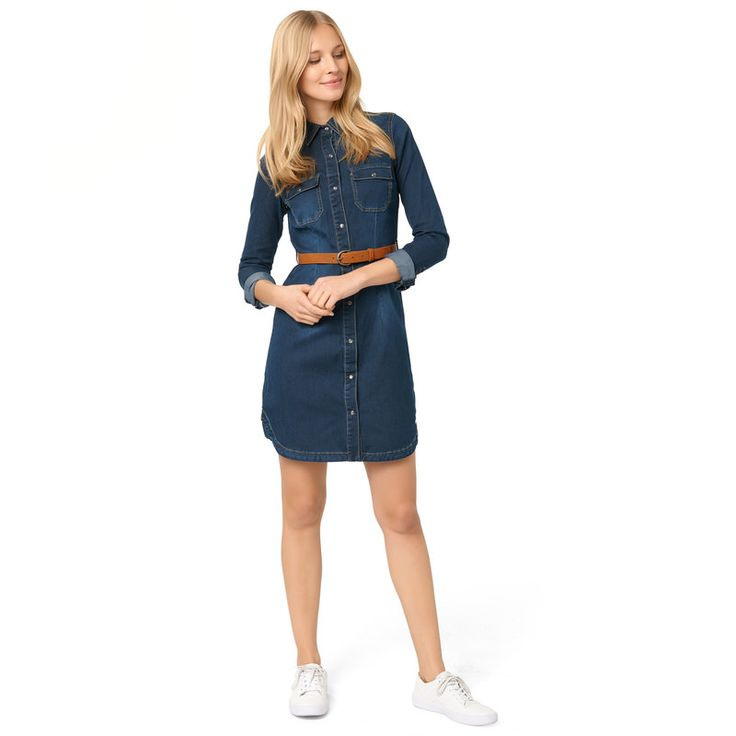 Jeanskleid Mit Gürtel In Basic Dark Blue Washed  Jeans