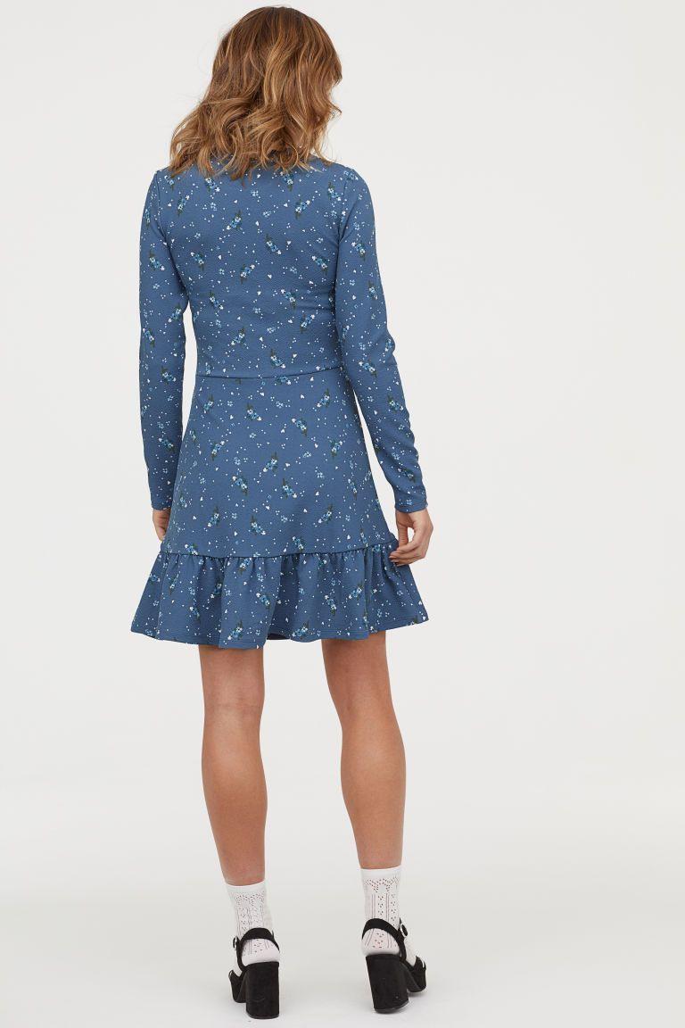 Jerseykleid Mit Volant  Kleider Hm Kleider Und Kurze