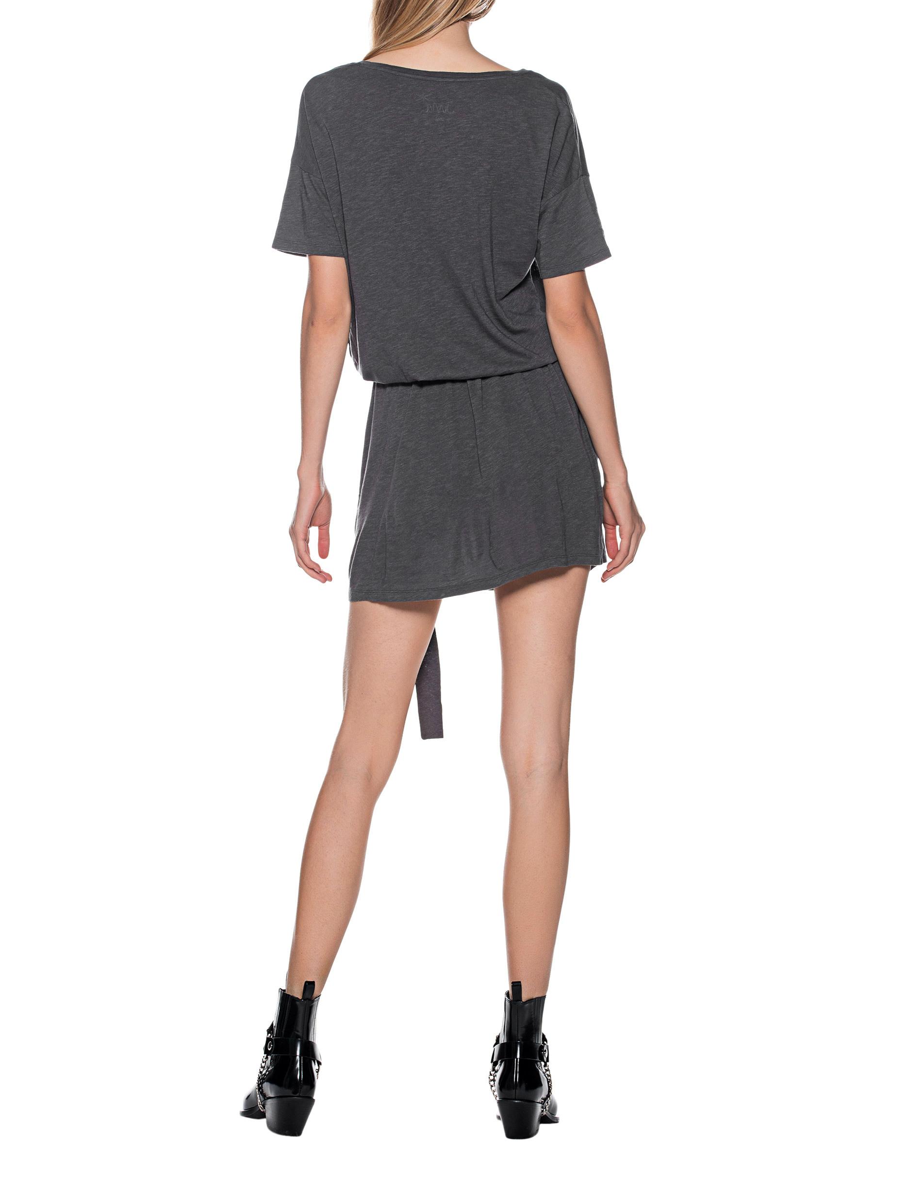 Juvia Belted Short Anthracite Kleid Mit Abnehmbaren