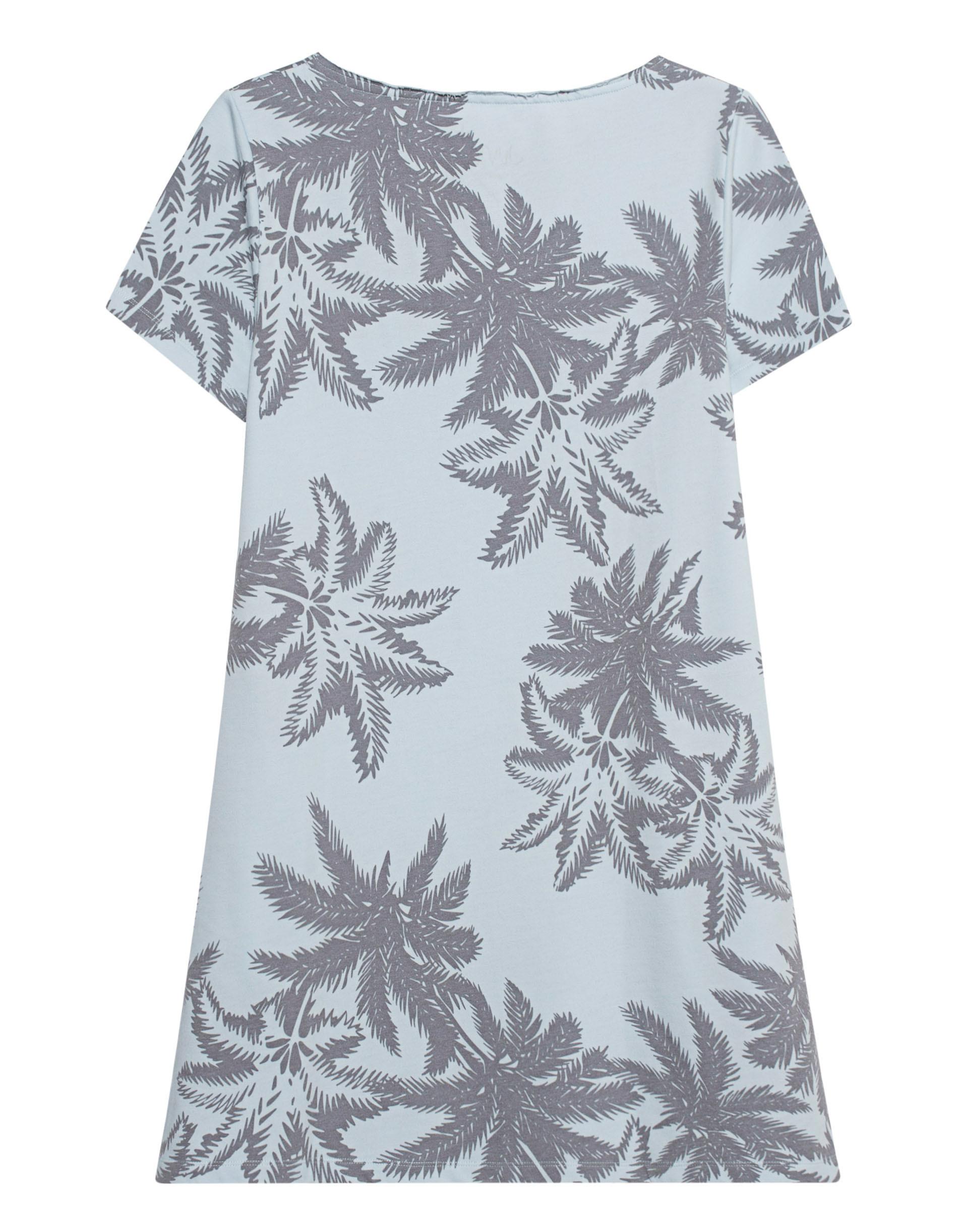Juvia Dress Palm Pocket Light Blue Gemustertes Kleid Mit