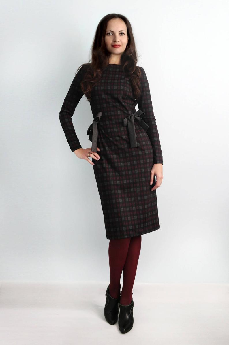 Kariertes Kleid Jerseykleid Herbst Weinrot Mit Langen