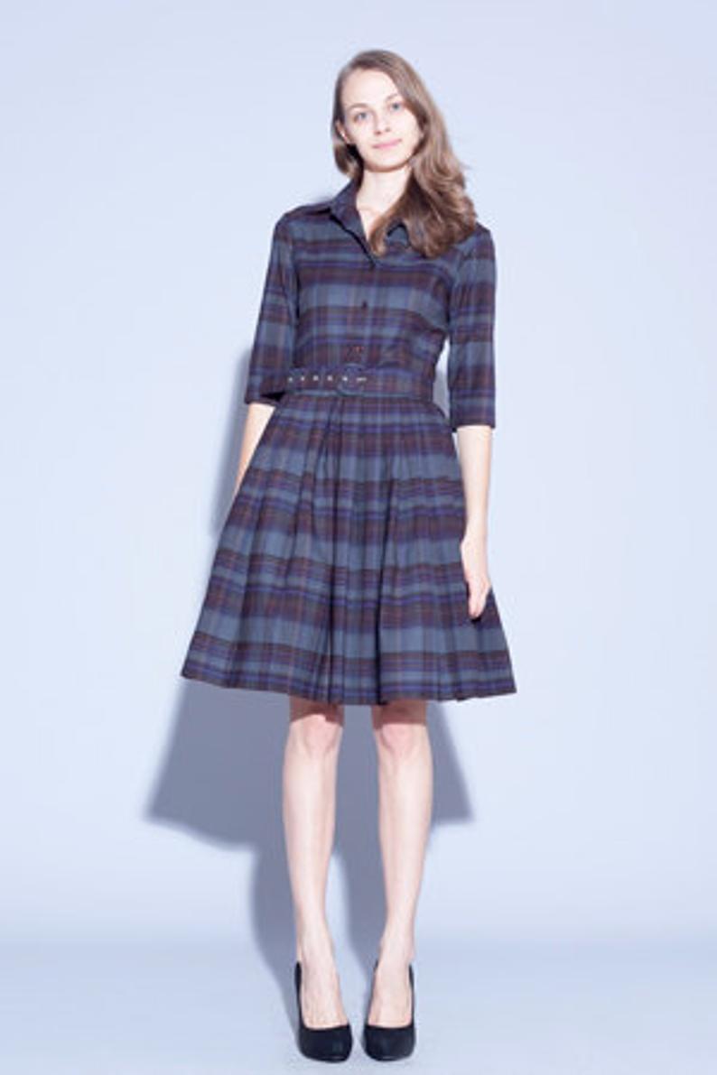 Kariertes Kleid Wollkleid Winter Tartan Kleid  Etsy