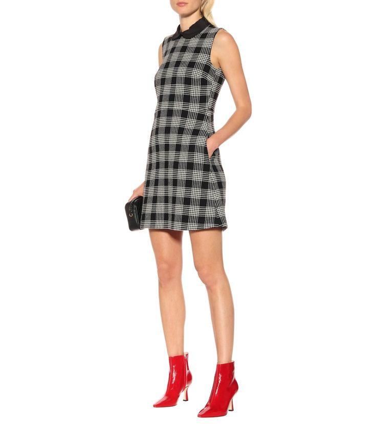 Kariertes Minikleid Mit Wollanteil In Schwarz Grau Kleid