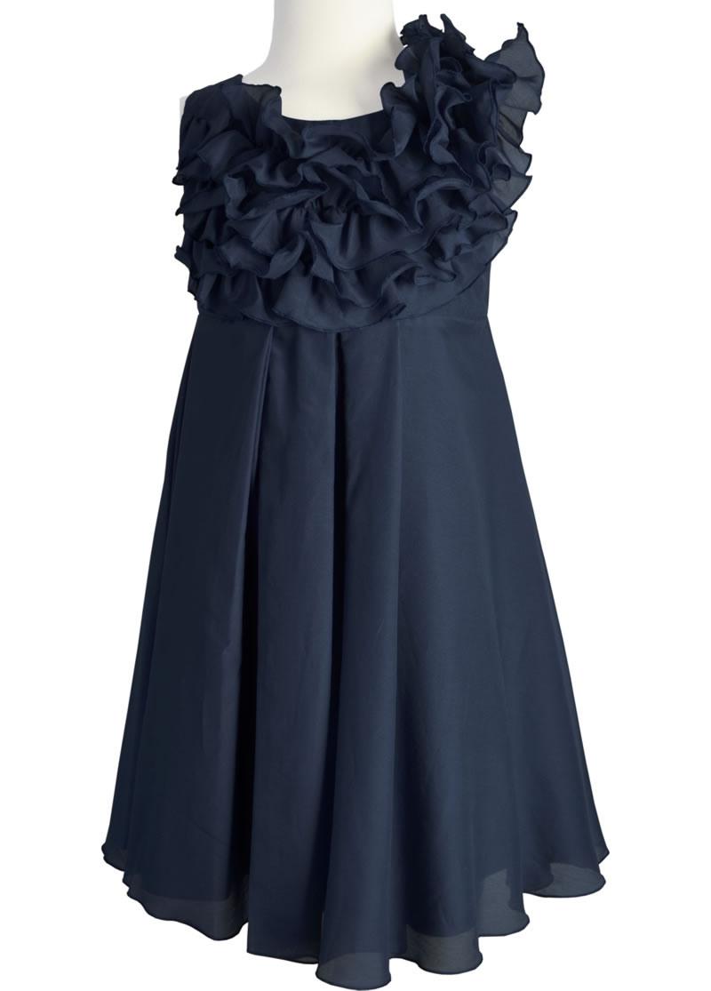 Käthe Kruse Cocktailkleid Seide Glimmer Nachtblau 13085