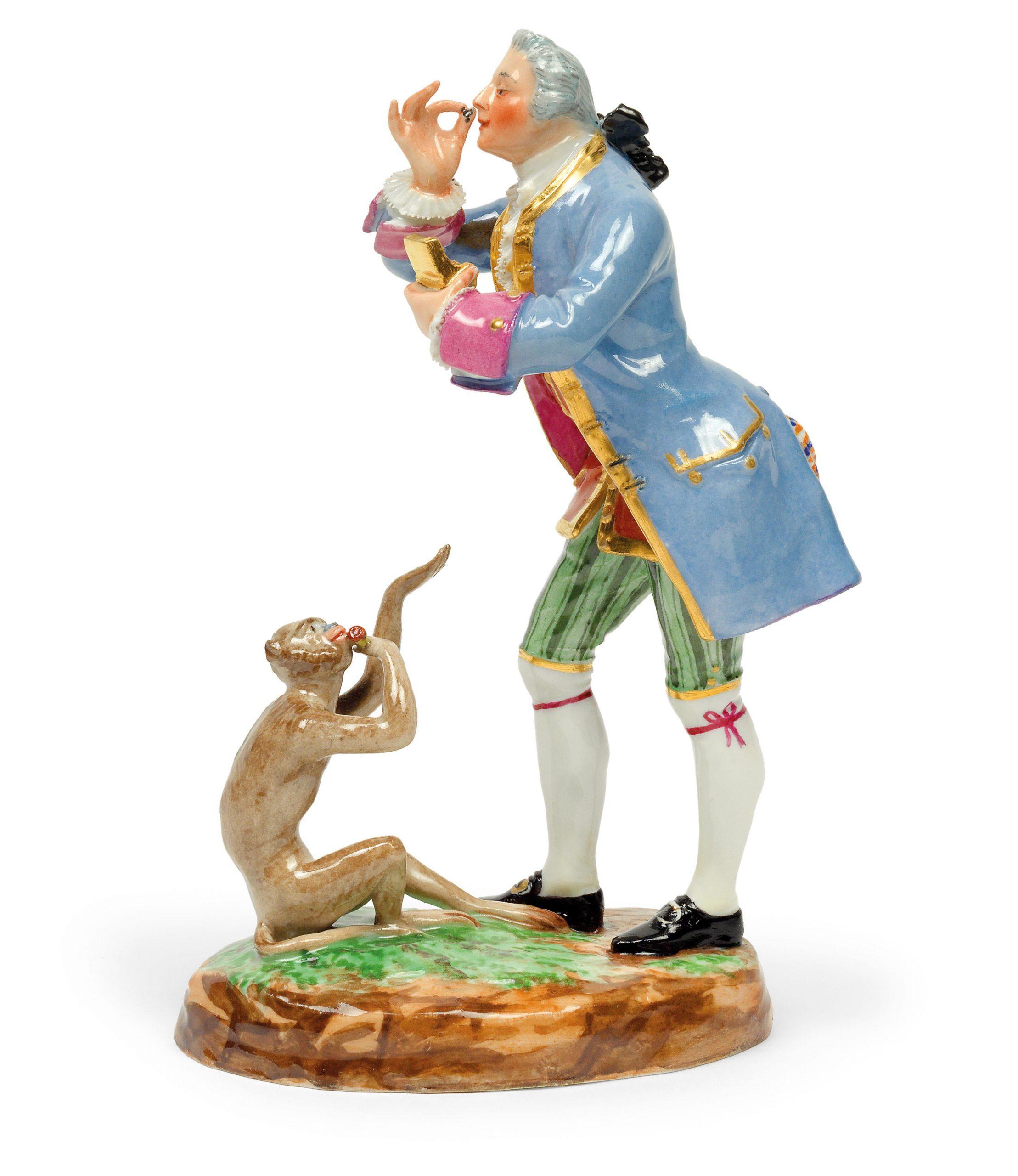 Kavalier In Barocker Kleidung Mit Affe  Glas Und