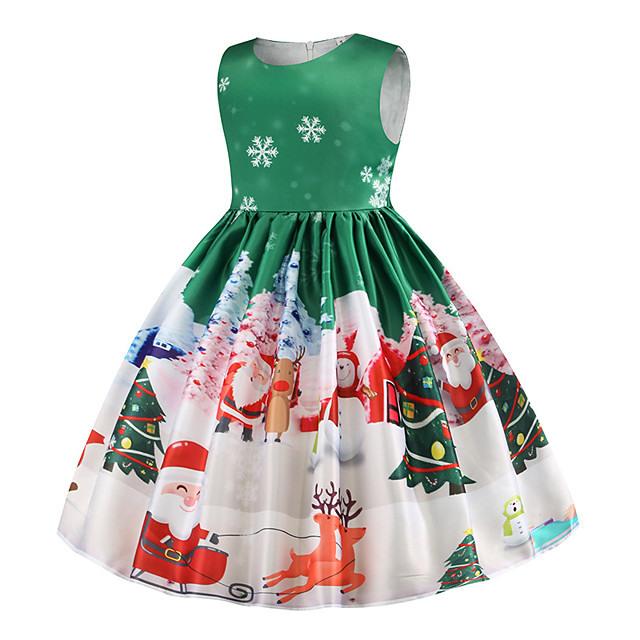 Kinder Mädchen Grundlegend Weihnachten Ärmellos Knielang