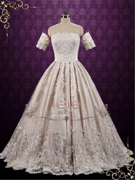 Klassische Champagner Spitze Ball Kleid Endes Brautkleid