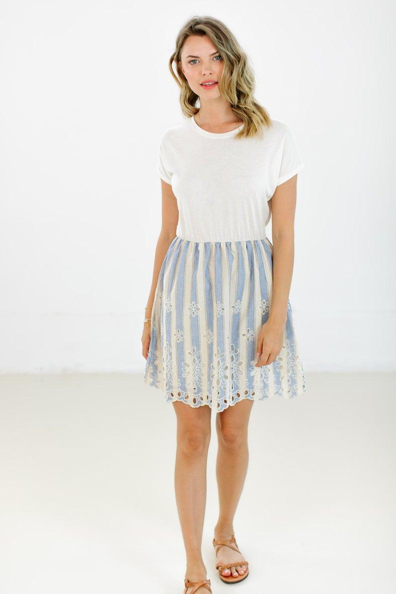 Kleid Annie Weiß Pastell  Etsy