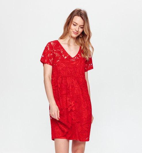 Kleid Aus Ausbrennerjersey  Rot  Damen  Kleider  Promod