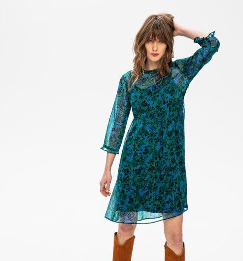 Kleid Aus Gemustertem Chiffon  Smaragdgrün Gemustert