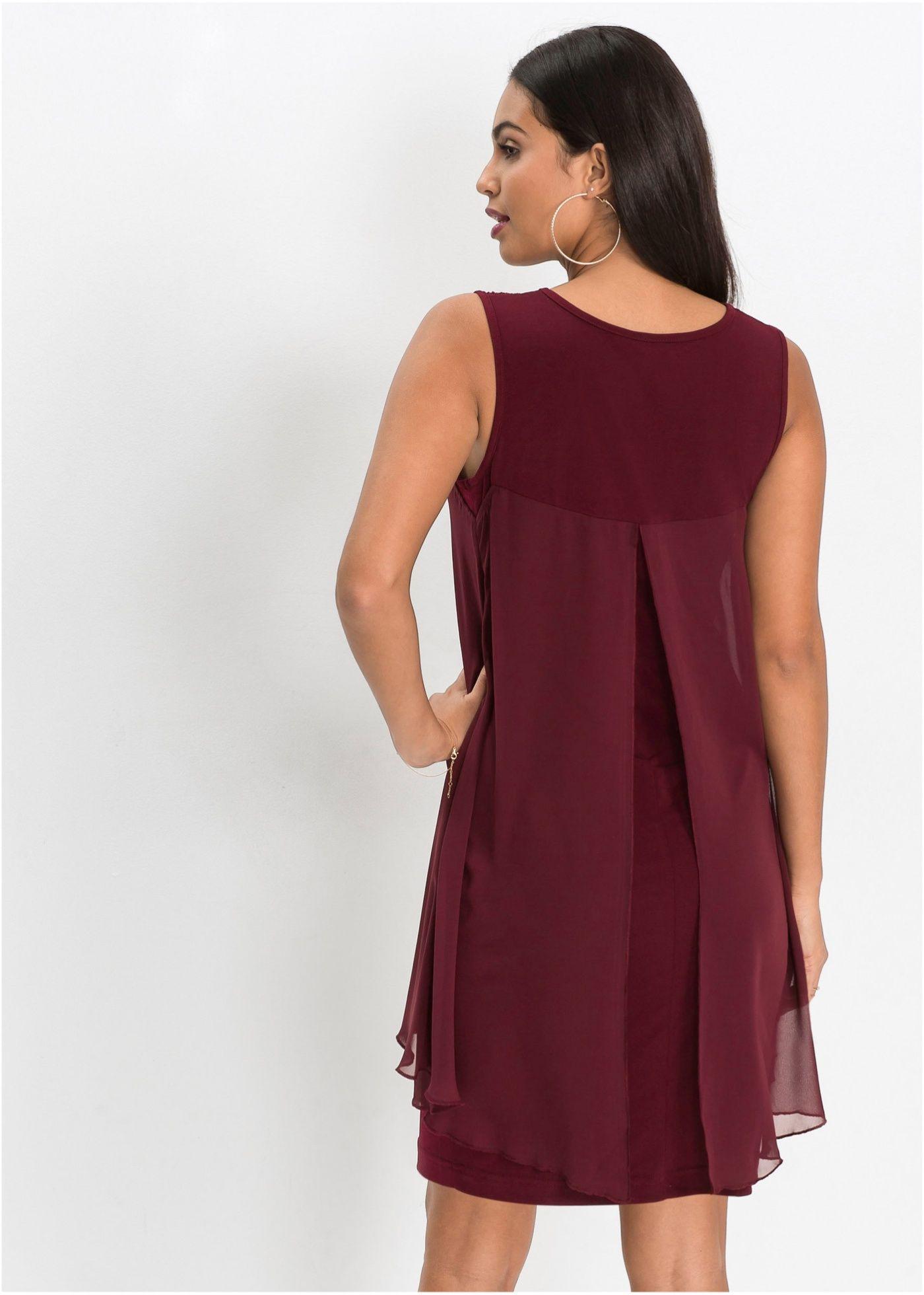 Kleid Aus Jersey Und Chiffon Dunkelrot Jetzt Im Online