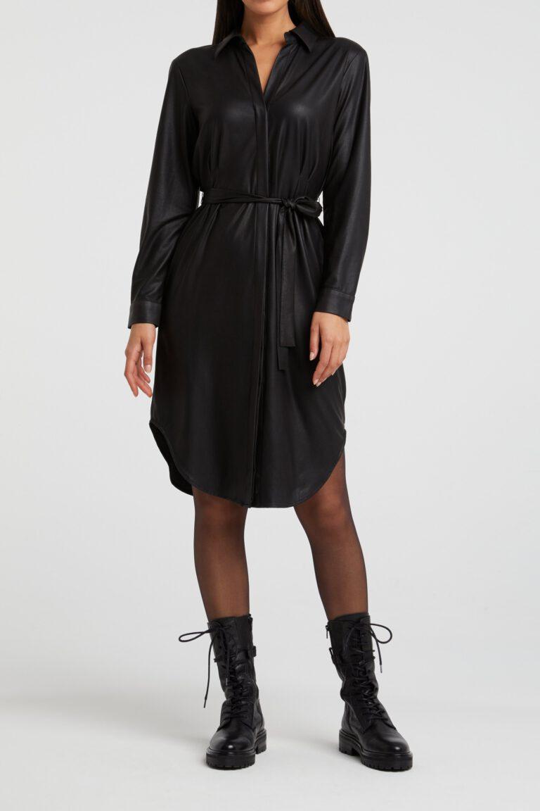 Kleid Aus Lederimitat In Schwarz - C Drei Concept Store - Shop
