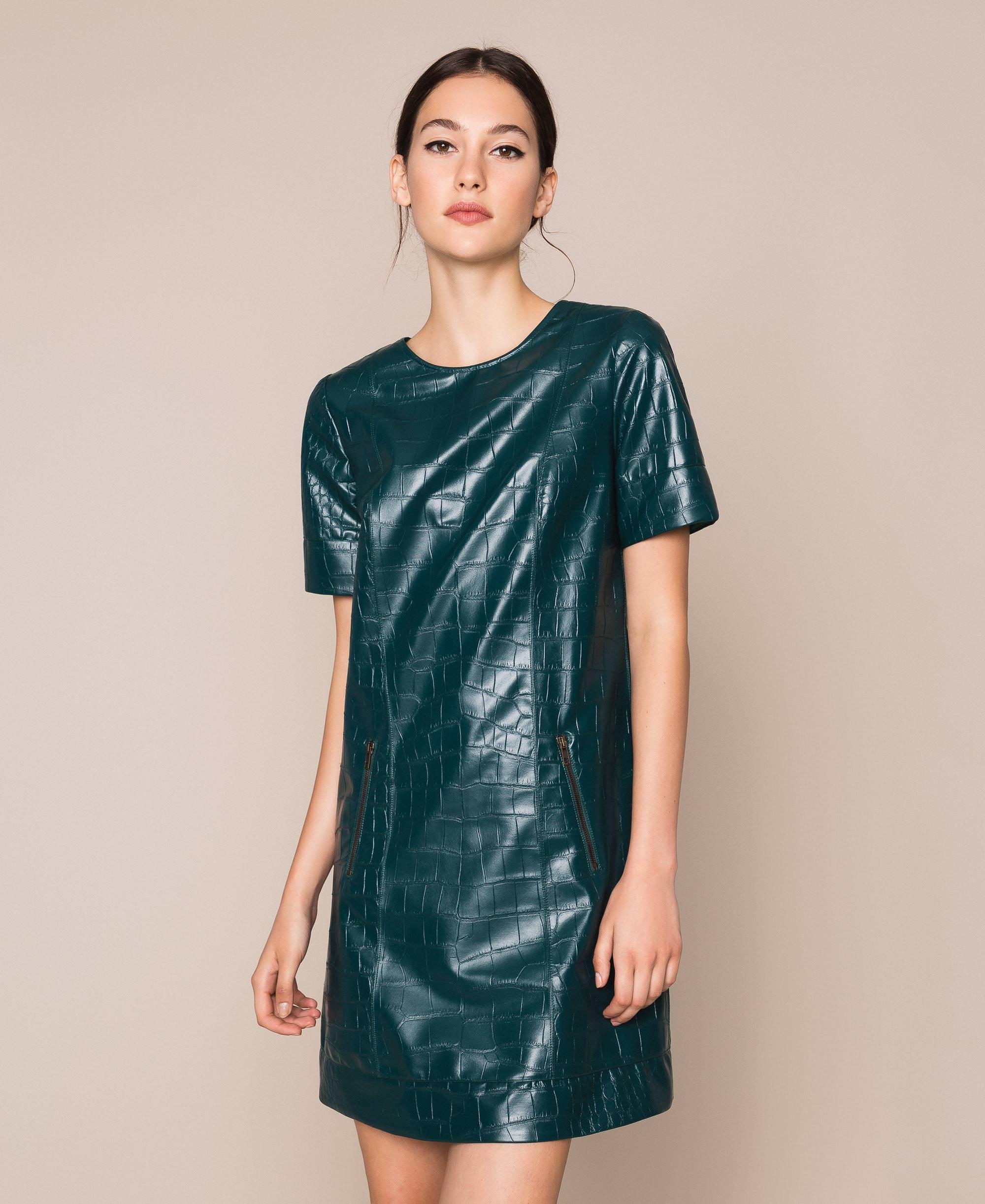 Kleid Aus Lederimitat Mit Krokoprägung Frau, Grün
