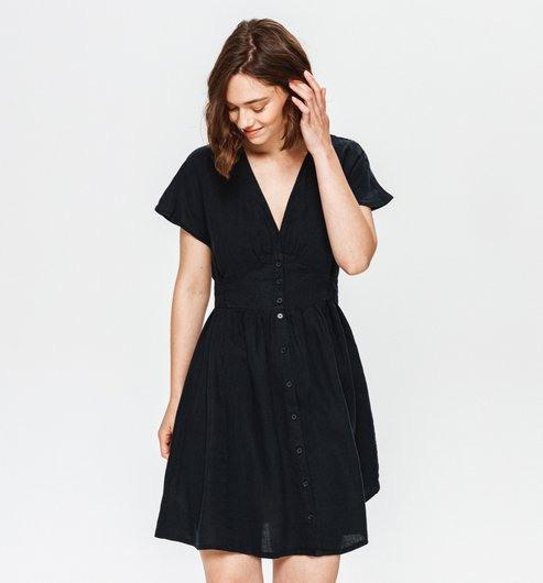 Kleid Aus Leinen  Schwarz  Damen  Kleider  Promod