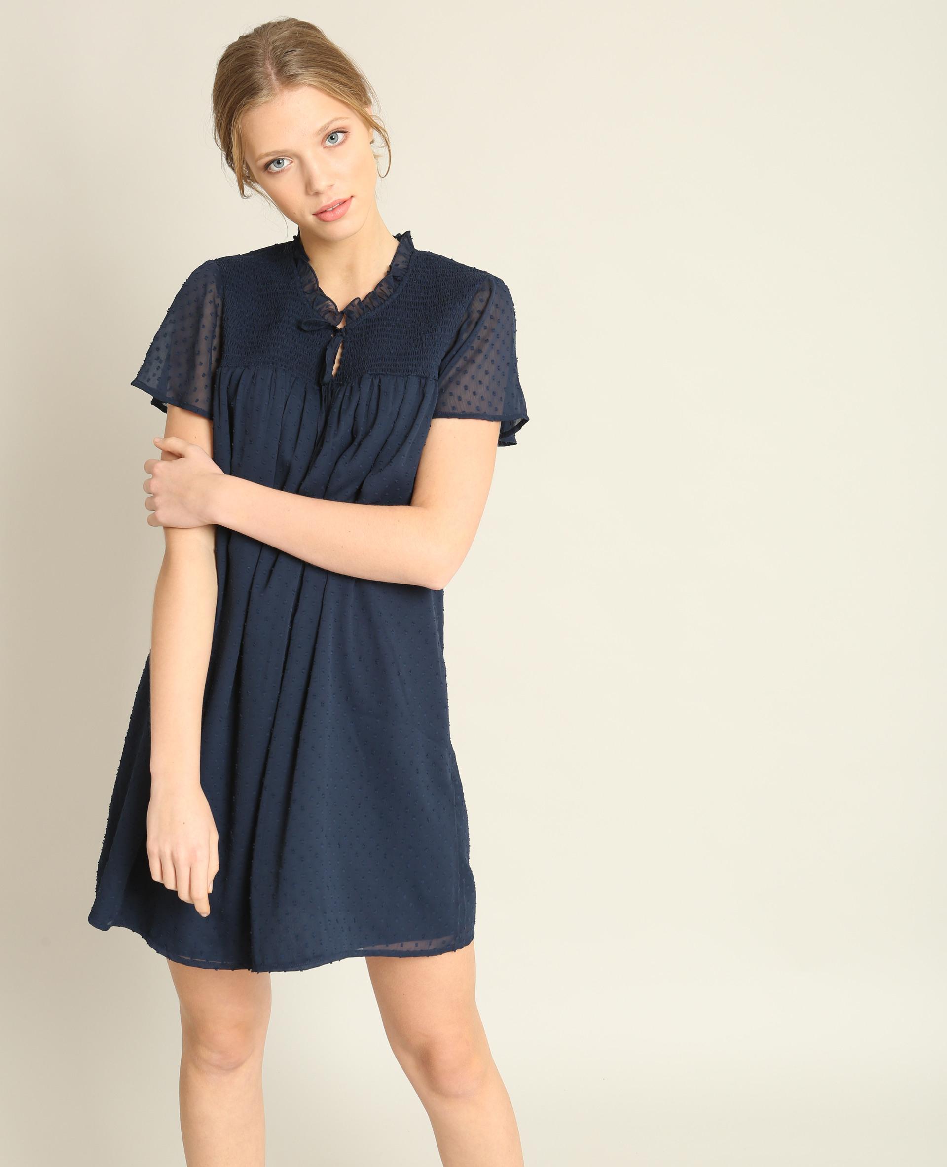 Kleid Aus Plumetis Marineblau  780855635A06  Pimkie