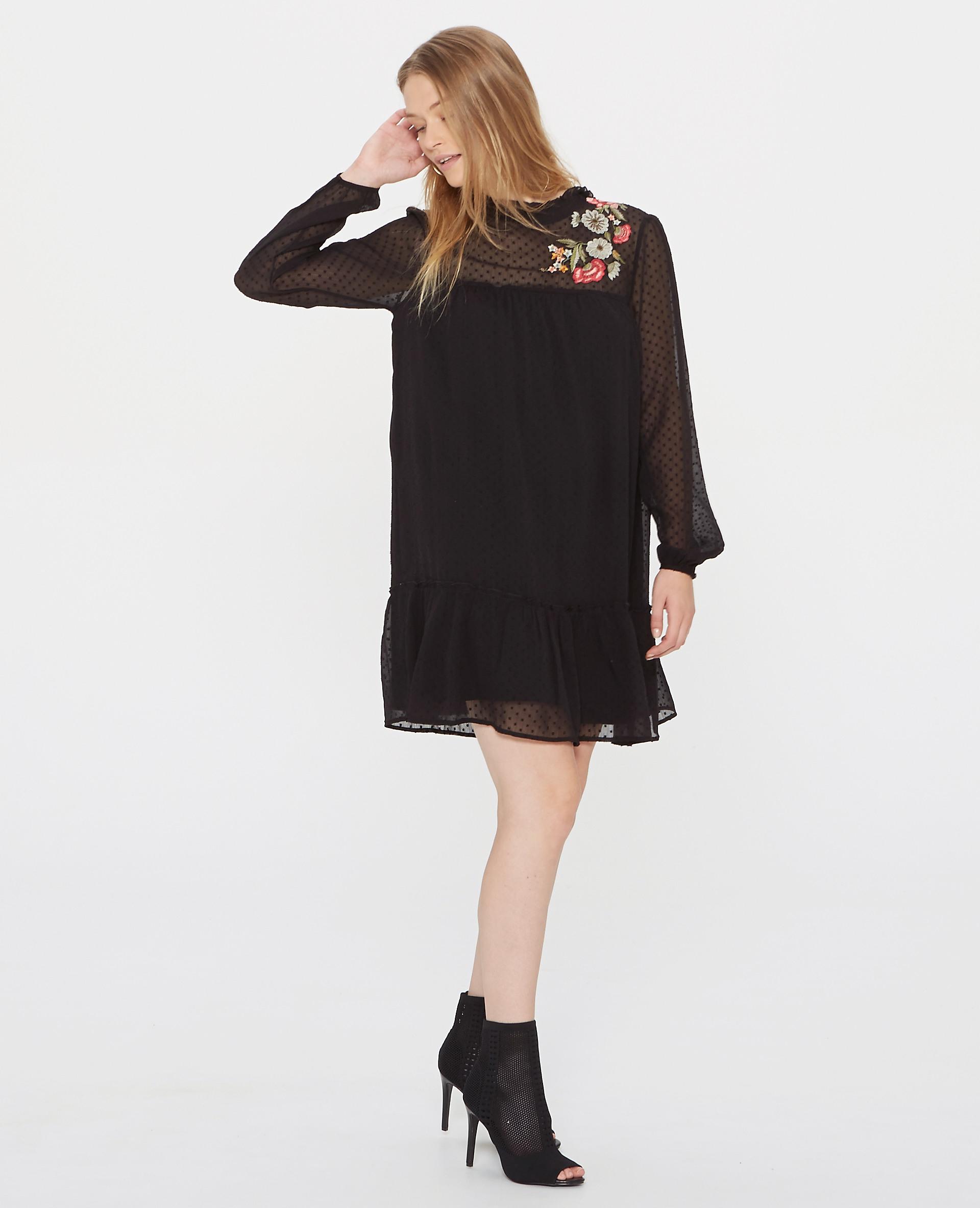 Kleid Aus Plumetis Schwarz  780773899F08  Pimkie