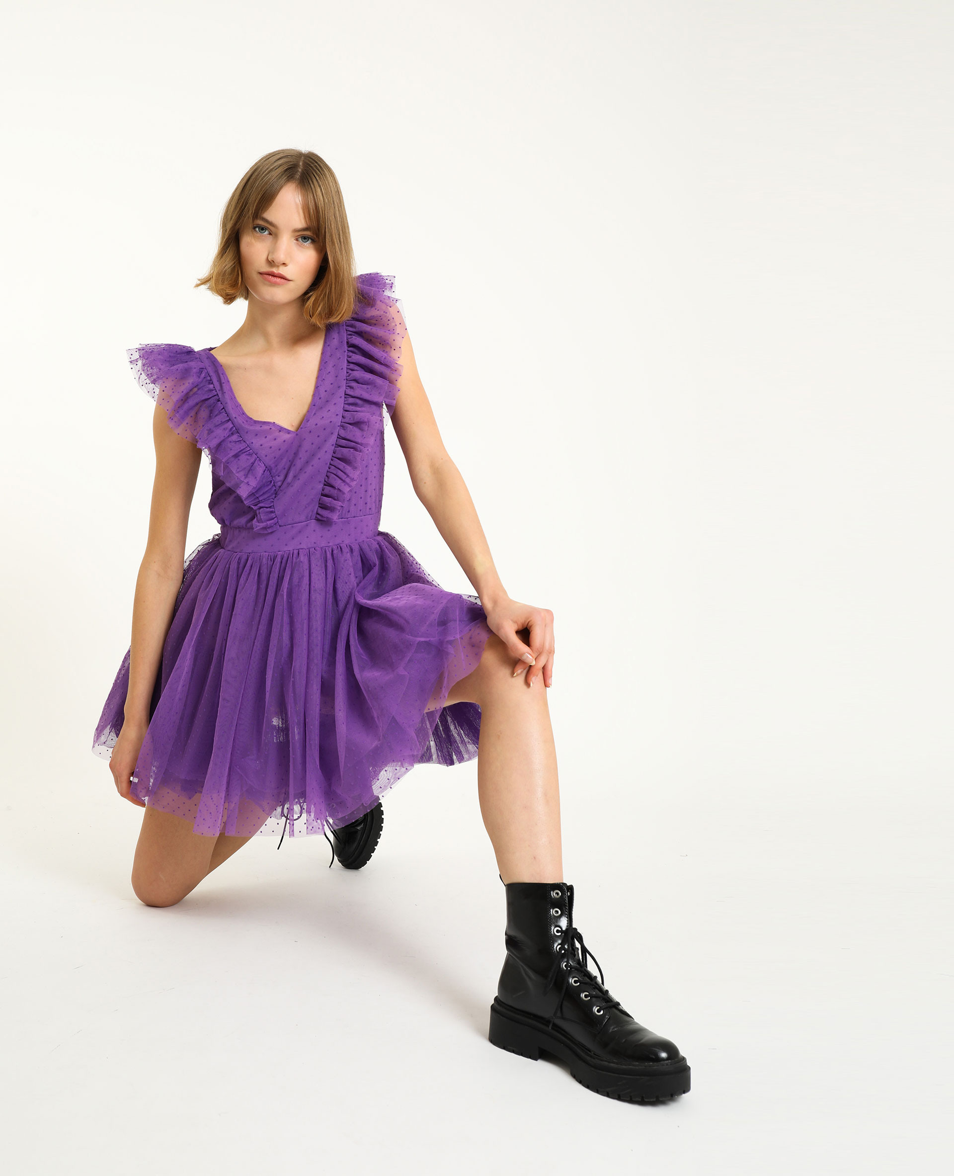 Kleid Aus Tütü Und Plumetis Violett 70  781526428A04