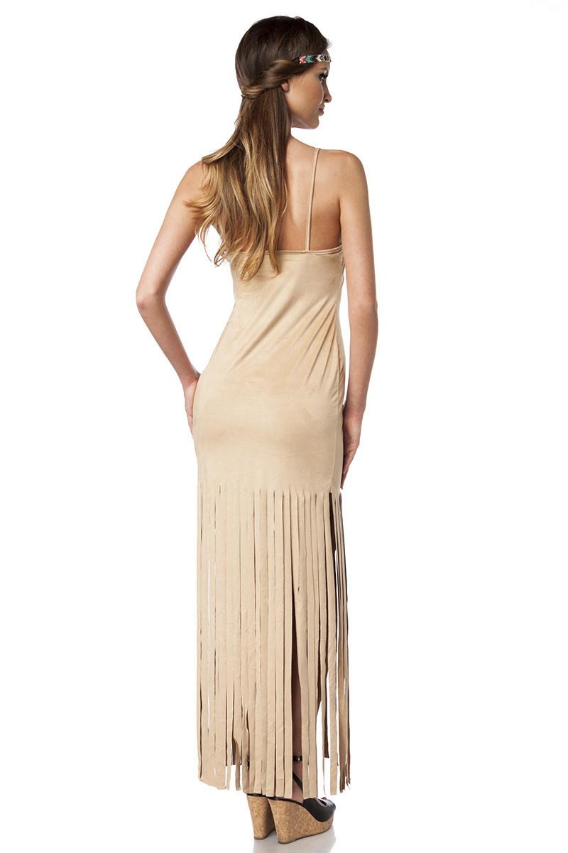 Kleid Beinschlitz Transparent Fransen Camel Farbe