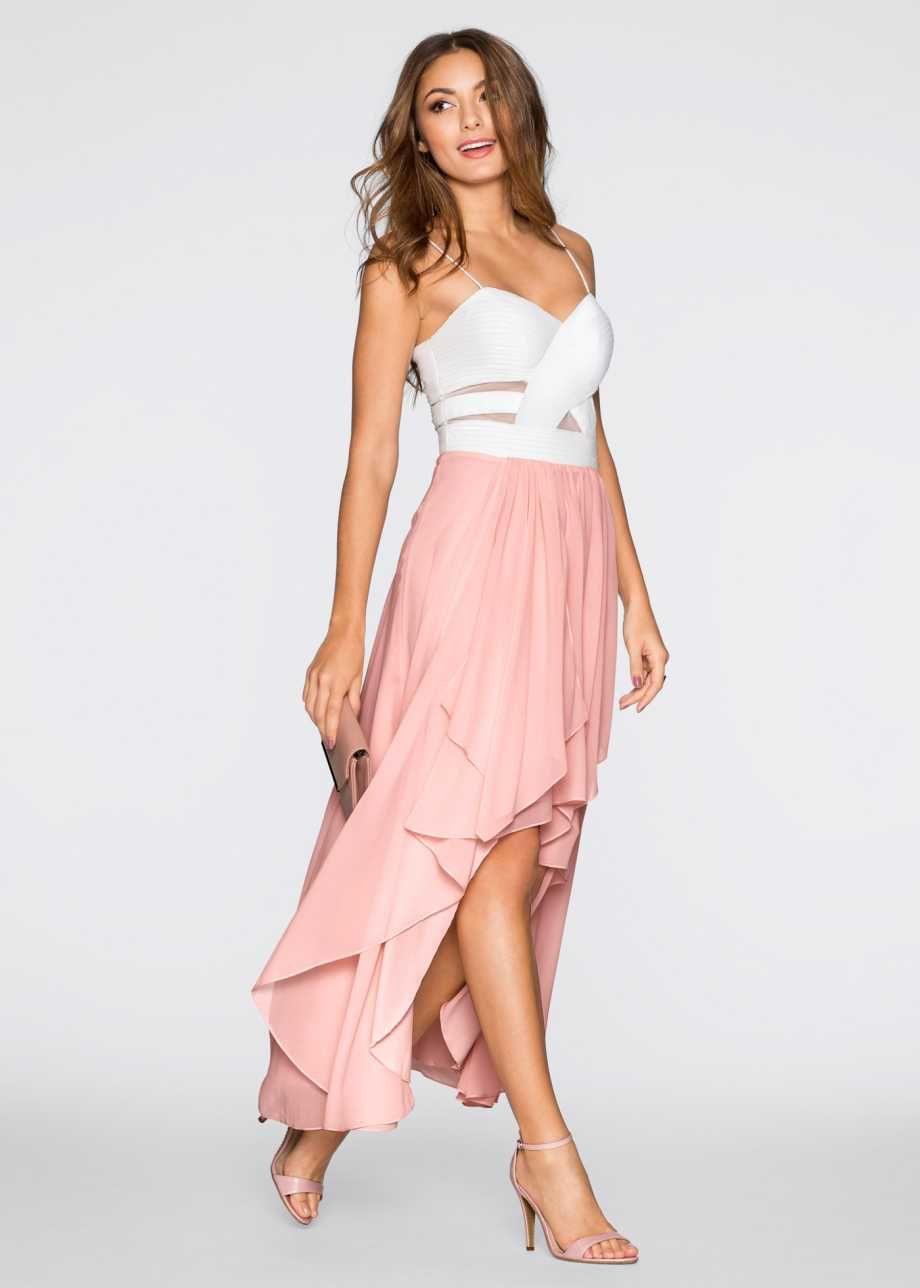 Kleid Bodyflirt Weiß/Hellmint  Vokuhila Kleid