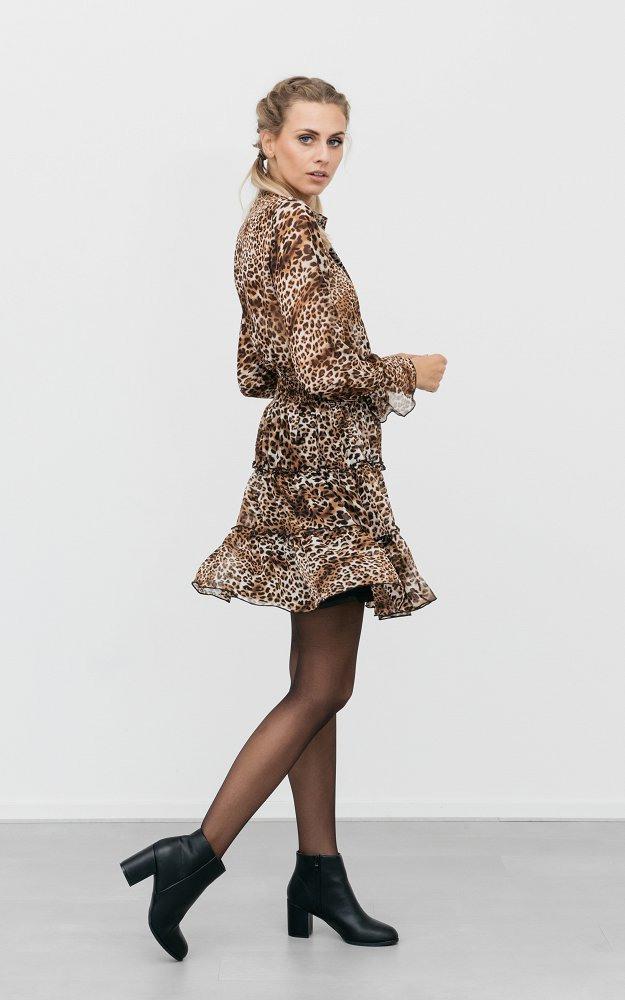 Kleid Damien Leopard  Transparentes Kleid Mit Leoprint
