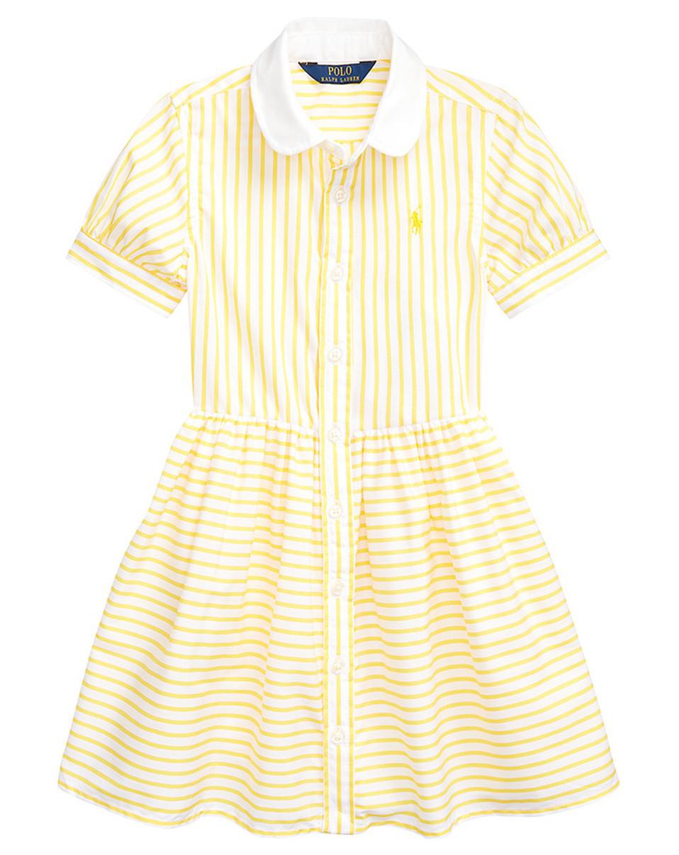 Kleid Day Stripe Mit Bubikragen In Gelb/Weiß