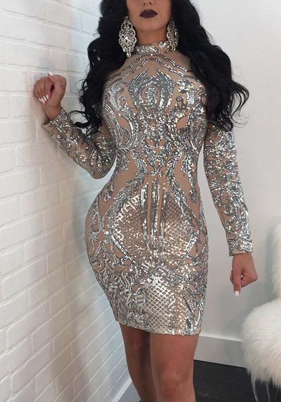 Kleid Glitzer Silber  Stylische Kleider Für Jeden Tag
