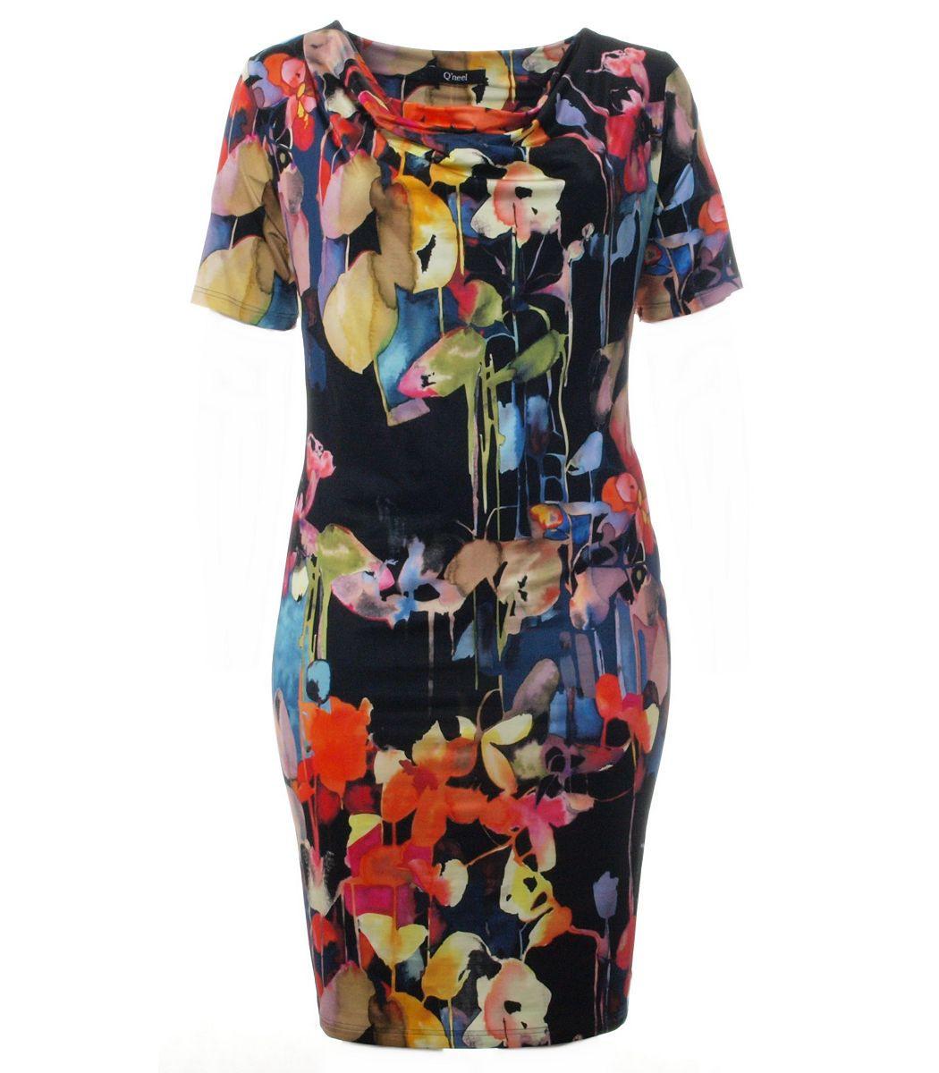 Kleid Große Größen In Schwarz Mit Bunten Blumen  Mode Für