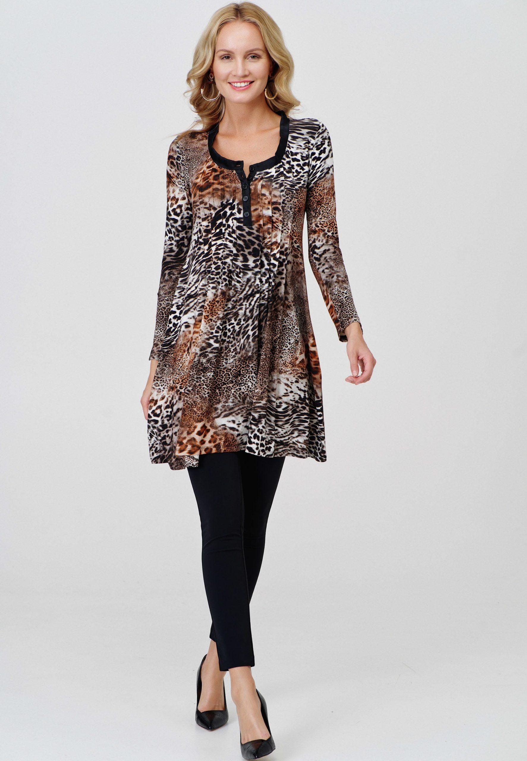 Kleid In Leo Caramel  Ancora Onlineshop