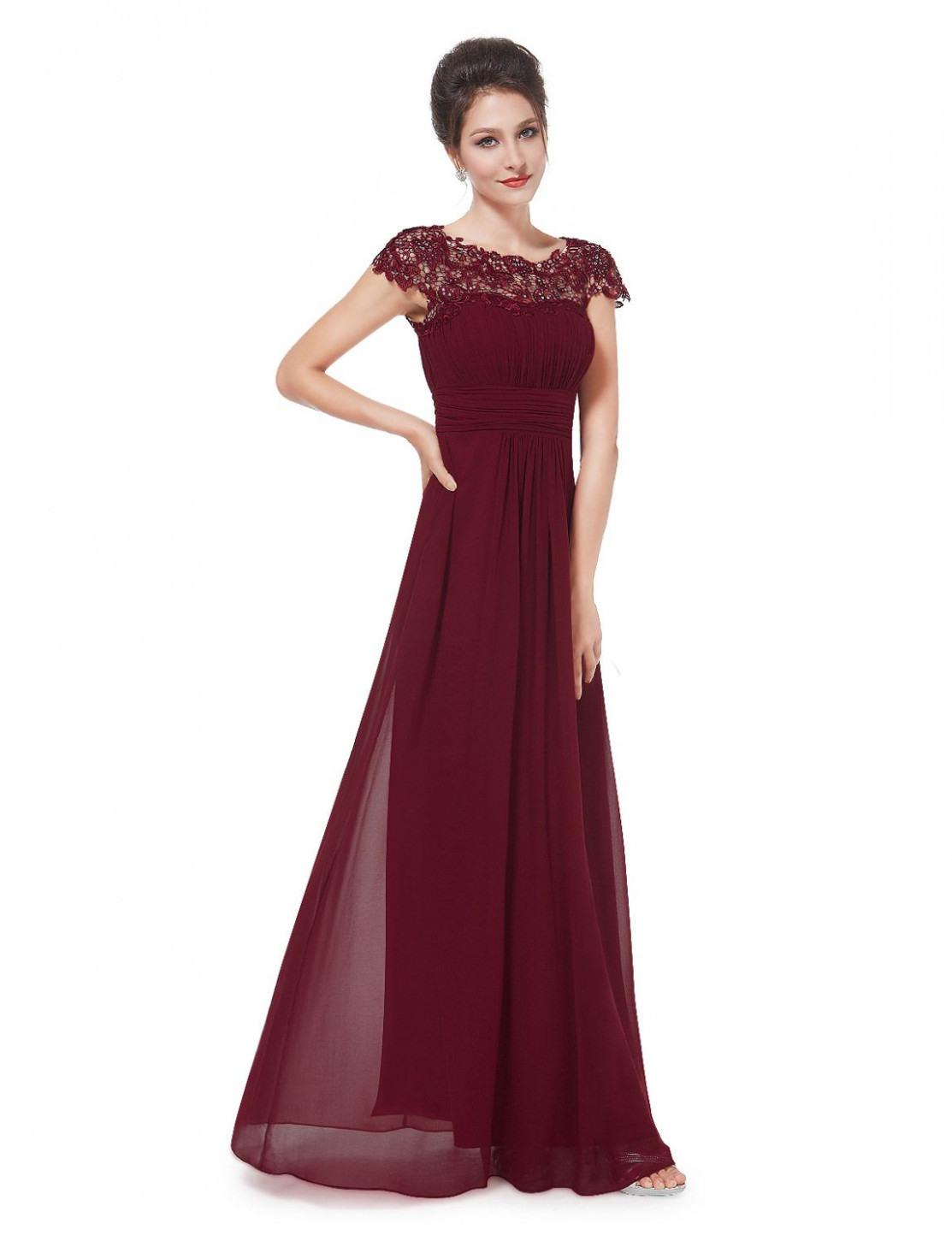 Kleid Lang Bordeaux  Abendkleider