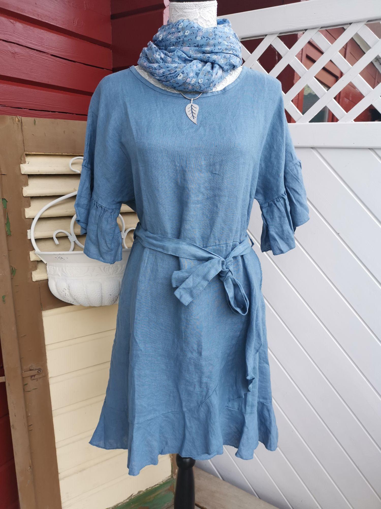 Kleid Leinen Sommerkleid In Beere Hellblau Weiß One Size