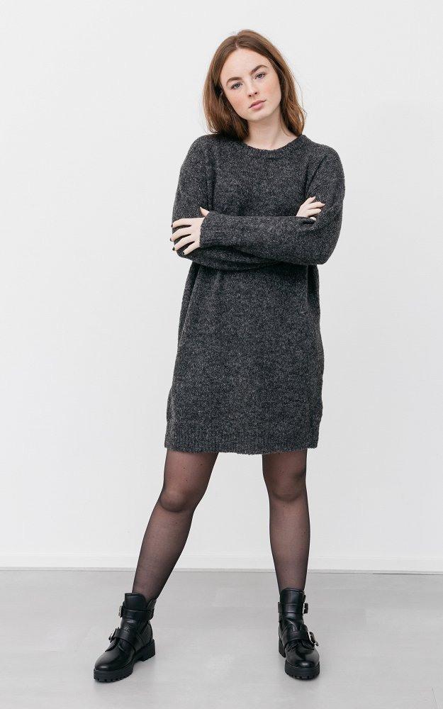 Kleid Lieve Dunkelgrau  Strickkleid Mit Rückenausschnitt