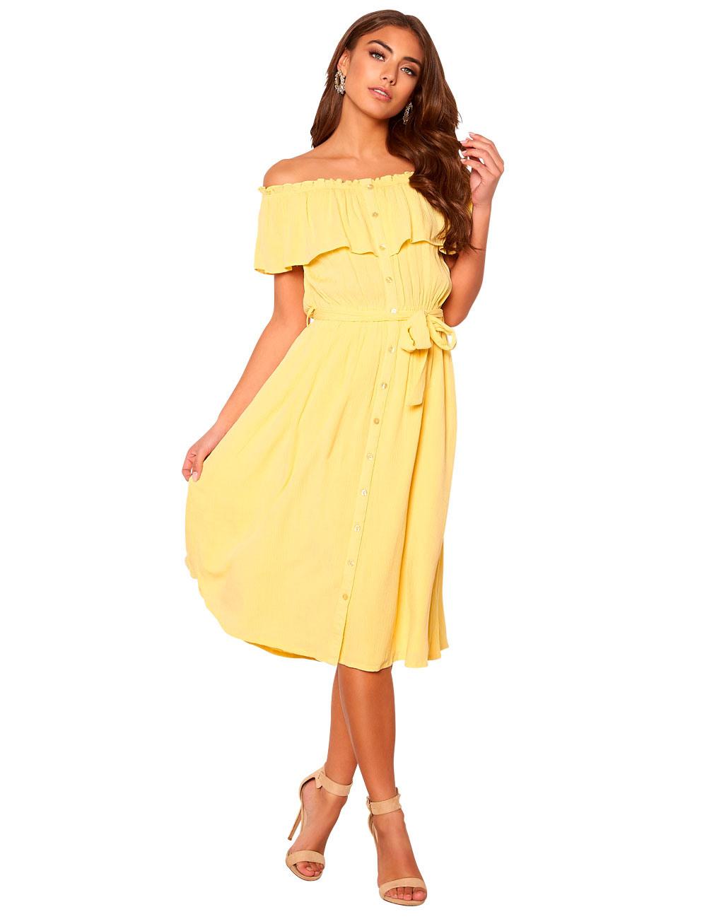 Kleid Make Way Mit Carmenausschnitt Gelb